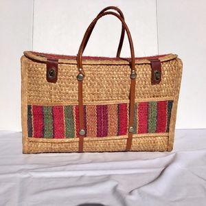 Vintage woven souvenir travel suitcase tote